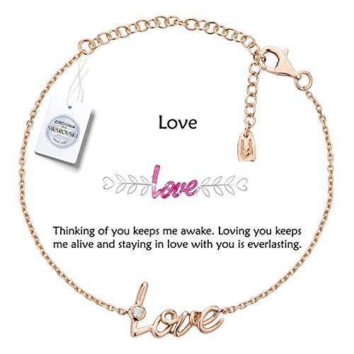 Vivid&Keith Womens Girls 925 Real Sterling Silver 18K Plated Swarovski Zirconia Cute Adjustable Gift Fashion Jewelry Link Chain Charm Pendant Bangle Bracelet, Love, Rose Gold Plated