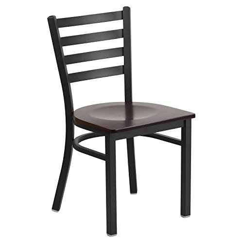 Basic Wooden Dining Chair with Ladder Back, Black Finish with Wood Finished Seat, Ideal for Your Kitchen, Living Room, Dining Table or Commercial Use, Black/Walnut + Expert Home Guide by ()