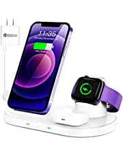 WAITIEE Wireless Charger 3 in 1 Stand for iPhone 12 and iWatch Series 6/5/4/3/2/1 AirPods pro, QI Charger 15W Fast Charging Dock Accessories iPhone 12/11/11 Pro/ 11 Pro Max/XS/XR/X/8/8 Plus/Samsung (White)