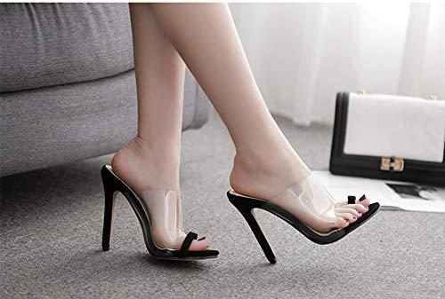 Respirant Haut Cassé Black Talon Bout Pantoufles Transparent Femmes Véritable Fin Antidérapant Durable Sandales Cuir Cristal D'été wqqIvZ0