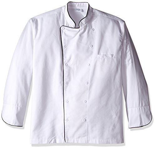 Dickies Chef Executive Coat with Stain Repellent with Piping, White/Black, 4X-Large - Executive Chefs Jacket