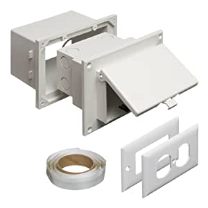 Arlington DHB1W-1 Outdoor Electrical Box for New Brick Construction, White Box/White Cover, Horizontal/1-Gang