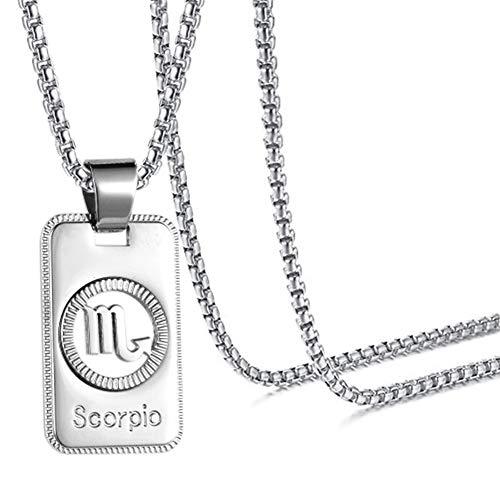 Xusamss Fashion White Titanium Steel Twelve Constellations Dog Tag Pendant Necklace with Chain