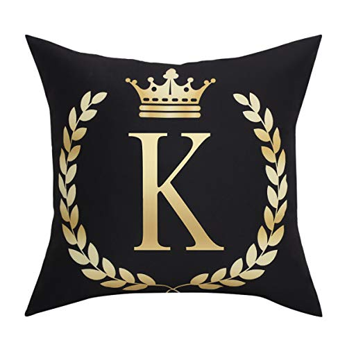 BLEUM CADE Black Pillow Cover Throw Pillow Case English Alphabet K Throw Pillow Case Modern Cushion Cover Square Pillowcase Decoration for Sofa Bed Chair ()
