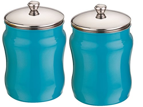 Mushroom Canister Set - Kitchen Kemistry, Convex Stainless Steel with Mushroom Lid Set, 2 Pieces, Sky Blue