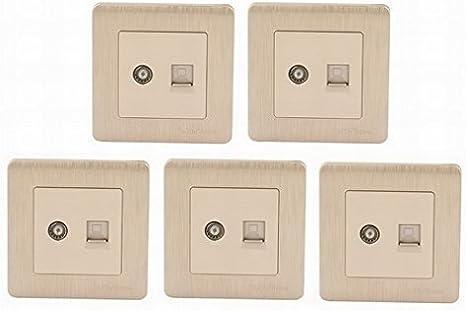 FemiaD - Juego de 5 Conectores de Interfaz de Internet para televisor, Placa de Pared, Tono Dorado, 86 x 86 mm: Amazon.es: Electrónica