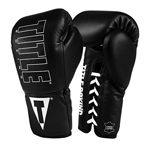 Title Boxing Enforcer Official Pro Fight Gloves, Black/White, 8 oz