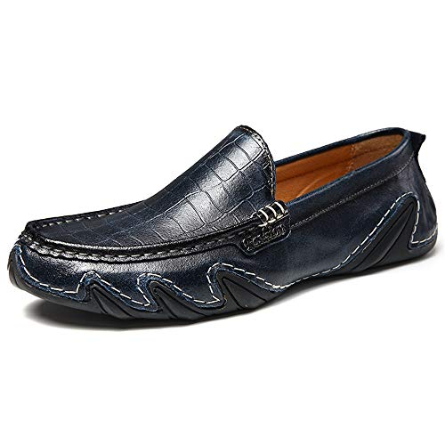Bleu 43 EU Easy Go Shopping Décontracté Mocassins pour Hommes Slip on Mocassins Crocodile Motif en Cuir Véritable Bateau Chaussures Conduite Voyager Chaussures de Cricket (Couleur   Bleu, Taille   43 EU)