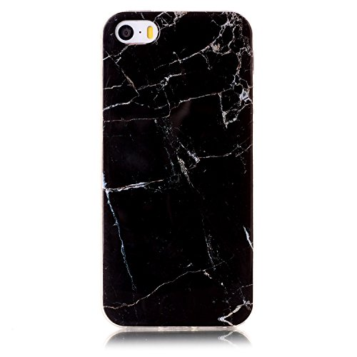 Price comparison product image Iphone 5 Case Iphone 5S Case Iphone SE Case UCLL Marble Design Slim Soft TPU Soft Cover for iphone 5/5s/5SE With with Screen Protector (black)