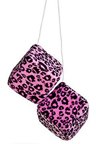"Cool & Custom {3"" Inch w/ String} Single Pair of ""Fuzzy, Furry & Fluffy Plush Dice"" Rear View Mirror Hanging Ornament Decoration w/ Leopard Design [VW Pink and Black Color]"
