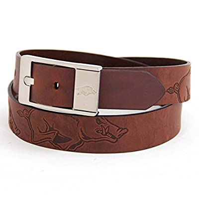 Eagles Wings Arkansas Razorback Brown Leather Belt