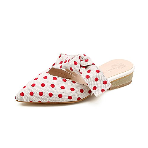 Eithy Mules Shoes for Women Loafers Shoes Pointy Toe Polka Dot Backless Slip On White Black Red Slippers Size 5.5-10.5 White