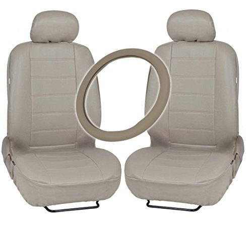 Taupe Leather Seat (Motor Trend Leatherette Seat Covers & Steering Wheel Combo - Premium Faux Leather in Taupe Beige)