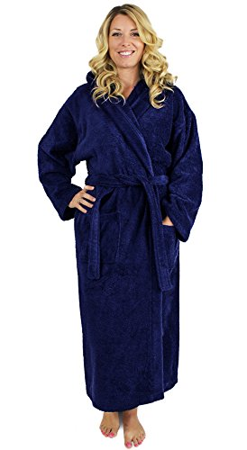 Indulge Premium Linen Terry Hooded Bathrobe for Men and Women, 100% Cotton, Made in Turkey (Small/Medium, (Cotton Hooded Robe)