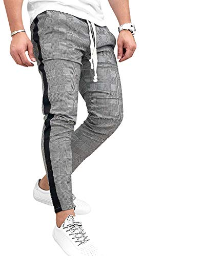 Men's Classic Plaid Pants Stretch Slim Fit Lattice Trousers Casual Running Jogger Drawstring Sweatpants (Medium, Grey) ()