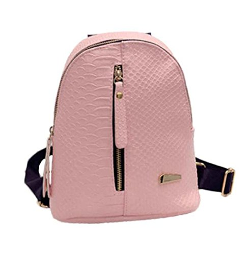 Sagton Women Leather Backpack Faux-alligator Print Pattern Schoolbag Shoulder Bag Travel Satchel (Pink)