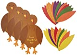 Amscan Festive Fall Thanksgiving Party Turkey Craft Kit Activities, Paper, Pack of 4