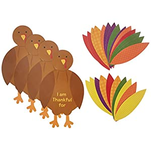 Festive Fall Thanksgiving Party Turkey Craft Kit Activities, Paper, Pack of 4
