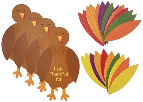 Festive Fall Thanksgiving Party Turkey Craft Kit Activities, Paper, Pack of 4 (Thanksgiving Favors)