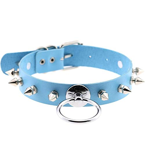 Mybox Silver Color O-Round Spike Choker Collar Women Harness Choker Necklace for Women 2019 Punk Leather Chocker Gothic Jewelry-Light Blue