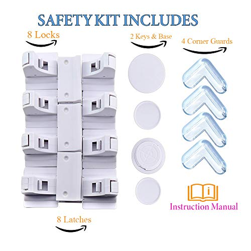 Child Proof Magnetic Safety Cabinet Locks: Baby Proofing Lock for Cabinets. Childproof drawer and cabinet door with magnet latches.