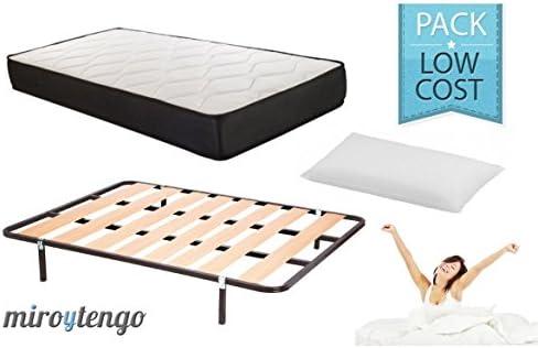 Pack Low Cost Descanso Completo 135X190 (colchon + somier + Patas+ Almohada): Amazon.es: Hogar