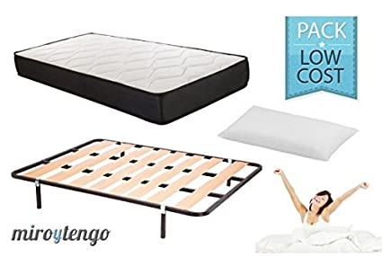 Pack Low Cost Descanso completo 90X190 (Colchon + somier + patas + almohada)