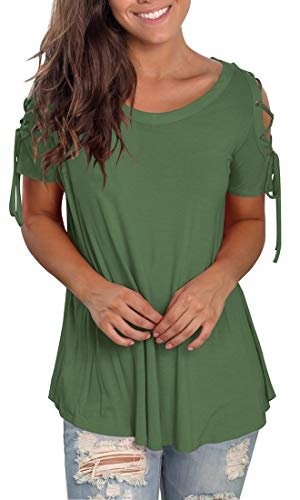Jescakoo Womens Spring Loose Fitting Tops Short Sleeve Workout T Shirts Army Green M