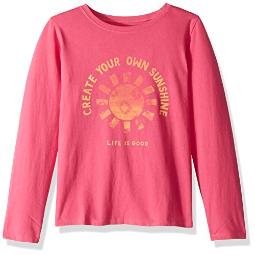 (Life is Good Girls Graphic Long Sleeve T-Shirts Crusher Collection,Create Your Own,Fiesta Pink,Large)