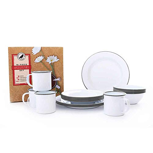 - Enamelware Starter Set, 16 piece, Vintage White/Grey