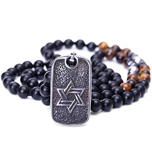 Black Onyx Cross Pendant Necklace Chain Beaded Long Stainless Steel Star of David Rosary Jewelry for Men - Cross Chain Beaded