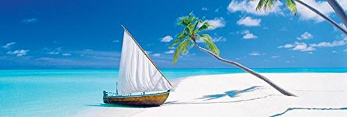 Paradise Found Sailing Beach Scenic Poster 12 X 36 Inches