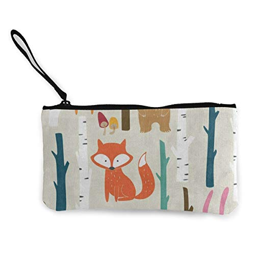 Canvas Coin Purse Forest Fox Bear Mushroom Hedgehog Rabbit Customs Zipper Pouch Wallet For Cash Bank Car ()