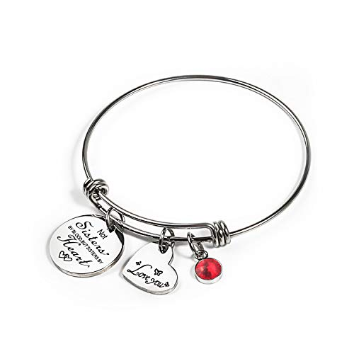 Haoze Not Sisters by Blood But Sisters by Heart Bracelet Bracelets 12 Months Color Birthstone and Elegant Butterfly Love Pendant Bracelet Sister Jewelry (July)
