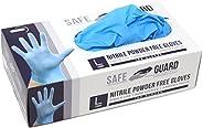 Safeguard Nitrile Disposable Gloves, Powder Free, Food Grade Gloves, Latex Free, 100 Pc. Dispenser Pack, Large Size, Blue