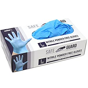 Safeguard Nitrile Disposable Gloves, Powder Free, Food Grade Gloves, Latex Free, 100 Pc. Dispenser Pack, X-Large Size…