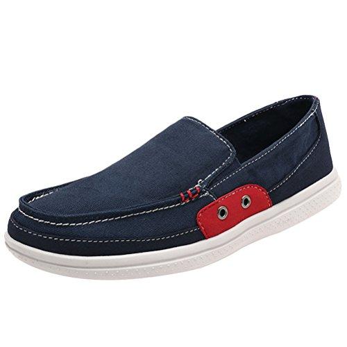 MatchLife Unisex Segeltuch Paare Trend Freizeit Flache Untere Schuhe Style2-Blau