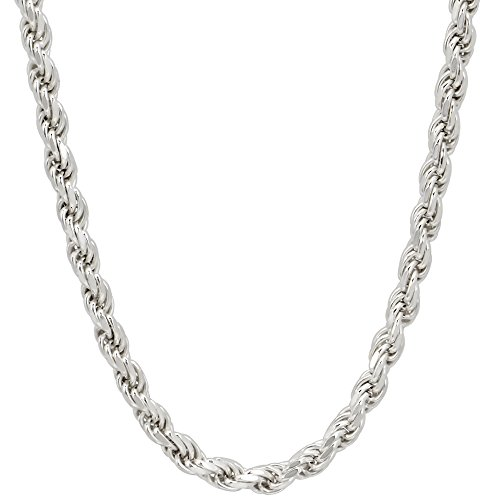 3mm Mens Solid .925 Sterling Silver Diamond-Cut Rope Chain Necklace, 20 Inch ()