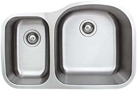 Wells Sinkware CMU3221-79D-16-1 Craftsmen Series Stainless Steel Kitchen Sink Package, 32 40 60 D-shape, Brushed Matte Finish