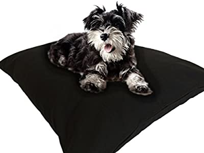 DIY Do It Yourself Durable Tough Black Canvas Pet Dog Bed Pillow Cover + Internal Inner Waterproof Resistant Case Set for Small Medium Dogs - COVERS ONLY Flat Style (Black Canvas, 36''x29'')