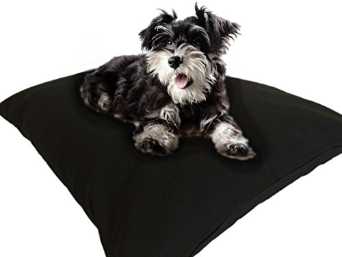 36' Air Bath - DIY Do It Yourself Durable Tough Black Canvas Pet Dog Bed Pillow Cover + Internal Inner Waterproof Resistant Case Set for Small Medium Dogs - COVERS ONLY Flat Style (Black Canvas, 36''x29'')