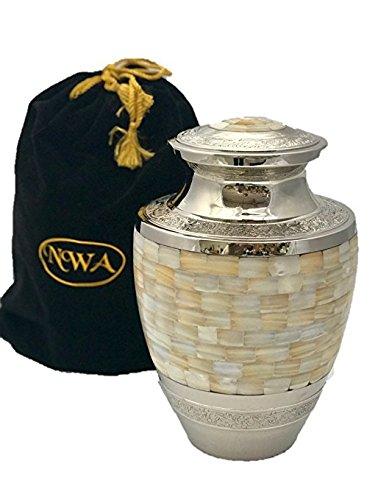 Gold Urn (Funeral Cremation Urn, Adult Size Solid Brass Mother Of Pearl Memorial Urn With Velvet Bag)