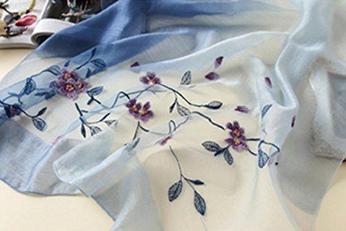 Bufanda Verano Playa Todo ultravioleta Azul Tulle de bufanda Mujer seda anti bordado 5 Turismo wIB7qHZx