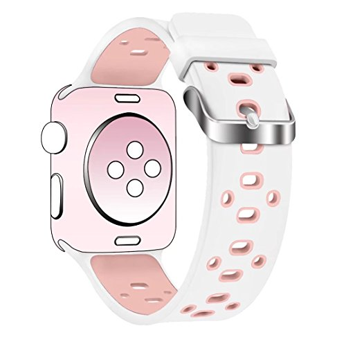 Band for Apple Watch 42mm, Guangzhi New Fashion Soft Silicone Sport Wrist Staps Band Replacement With Stainless Steel Buckle for iWatch Series 1 / 2, Sport, Edition, Nike+,42mm,White and Lightpink