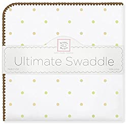 SwaddleDesigns Ultimate Swaddle Blanket, Made in USA, Gold Little Dots with Mocha Trim, Pastel Blue