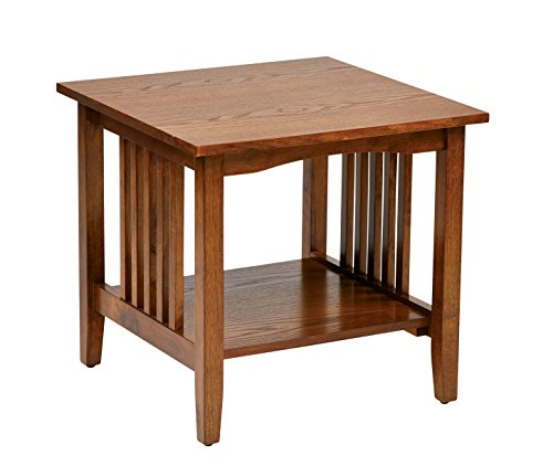 Office Star Sierra Solid Wood End Table, Ash Finish