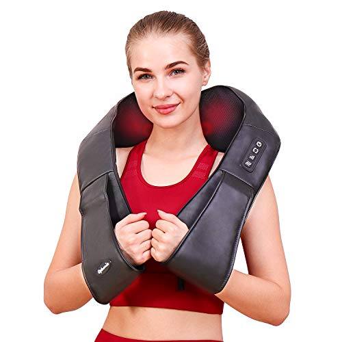 Ophanie Shiatsu Neck and Back Massager with Heat, Deep Kneading Massager for Neck Back Shoulders Legs & Foot; Full Body Portable Electric Massager for Home, Office and Car - Black