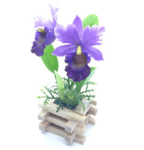Handmade Miniature Flower Orchid in Wooden Pot Nice for Decoration in your Table or any place #4