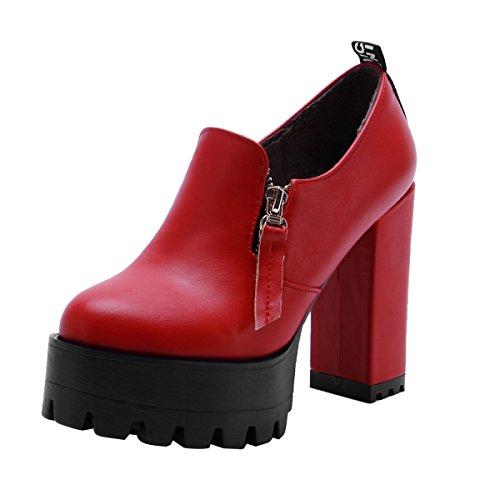 YE Damen Blockabsatz High Heels Plateau Pumps Geschlossen Elegant Kleid Schuhe Rot