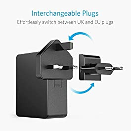 Anker USB Plug Charger 5.4A/27W 4-Port USB Charger, PowerPort 4 Lite with Interchangeable UK and EU Travel Charger…